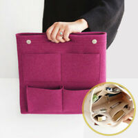 Large Felt Multi Pocket Insert Purse Organizer Cosmetic Makeup Bag Tote Handbag
