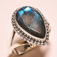 FACETED BLUE FIRE LABRADORITE  925 STERLING SILVER RING SIZE 9.5 US