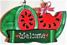 WATERMELON Welcome SIGN Wall Door Hanger Plaque Kitchen Home Porch Deck Patio
