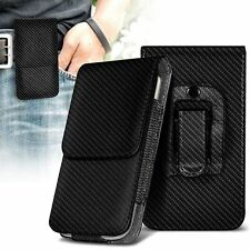Vertical Belt Clip Quality Pouch Holster Top Flip Case Holder✔Carbon Fiber Black