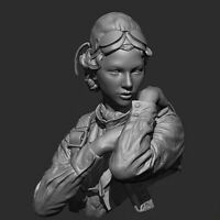 █ 1/10 Resin WWII  Female Russian Pilot Bust Unpainted Unassembled