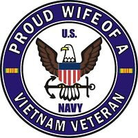 """Proud Wife of a US Navy Vietnam Veteran 5.5"""" Sticker 'Officially Licensed'"""