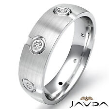 Band Platinum Mens Eternity Ring 0.1Ct Round Diamond Wedding Dome Center Brushed