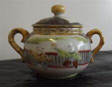 Vintage Asian Sugar Bowl w/Lid Hand Painted NICE