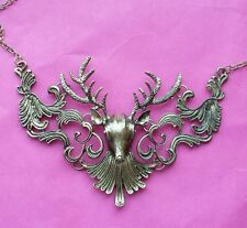 3d large animal stag deer antler Head bib collar Funky quirky statement necklace