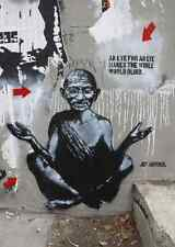 Banksy Gandhi an eye for an eye graffiti street art on Canvas ACEO