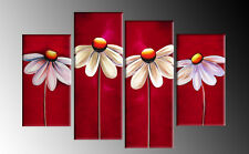 RED FLORAL CANVAS DAISIES PAINTING WALL ART SPLIT PICTURES 4 PANEL 40 rdy 2 hang