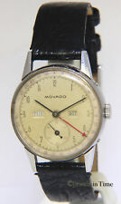 Movado Triple Calendar Day Date Month Steel 32mm Rare Vintage Manual Watch