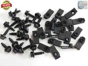 "Body Bolts & U-nut Clips- 1/4-20 x 15/16"" Long- 7/16"" Hex- 40 pcs (20ea) ED#157F"