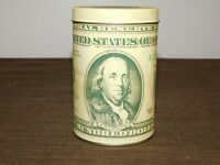 "VINTAGE 4 1/2"" HIGH 1988 BEN FRANKLIN ONE HUNDRED DOLLAR BILL TIN CAN BANK"