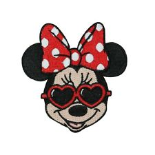 Minnie Mouse Heart Shades Iron-On Applique Disney Fan DIY Decoration Craft Patch