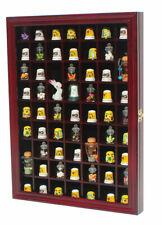 59 Thimble Display Case Shadow Box Wall Rack Cabinet, Glass Door Cherry Finish