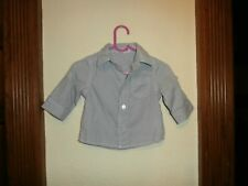 VERTBAUDET BOYS GREY STRIPED SHIRT WITH ROLL UP SLEEVES  SIZE 3 MONTHS