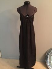 KARTA Black XS 100% Silk Dress Strappy Long SLEEVELESS CASUAL DRESS Sz XS