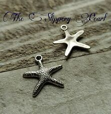 Starfish Charms Pendants  Antiqued Silver Nautical Ocean Charms Sea Charms 10pc