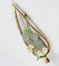 MING'S 14K Pin with Jade Monkey and Pearls