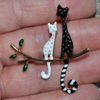 Black White Cats Brooch Enamel Animal Gold Pin Broach Vintage Style Lady Gift UK