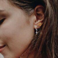 Damen Creolen mit Anhänger Kreuz Echt Silber 925 Ohrringe Zirkonia Ohrhänger
