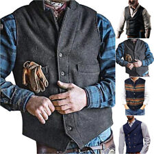 Men Formal Casual Business Suit Vest Tops Wedding Cowboy Western Work Waistcoat