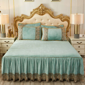 Embroidery Lace Velvet Queen Size Bedspread Bed Skirt Ruffle Embossing Bedsheet