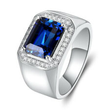 925 Sterling Silver Adjustable Band Blue Sapphire Men's Wedding Ring M139
