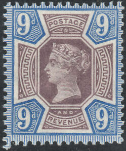 1887 JUBILEE SG209 9d DULL PURPLE & BRIGHT BLUE UNMOUNTED MINT MNH SHADE (K38(2)