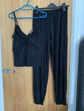 Ladies ZARA Set/co Ord/matching Top And Trousers Plisse Size Small