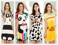 Cartoon Animals Milk Wire Women's Nightdresses Sleepshirt Sleepwear Nightshirt