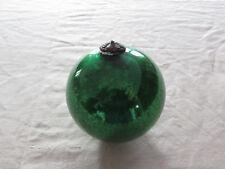 ancienne boule de noel en verre eglomise mercurise 19eme couleur verte