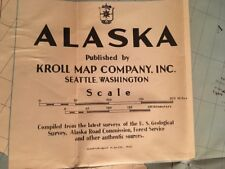 1939 Kroll Fold Up Map Of Alaska / Color With City Town Key