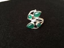 BN Quality Solid Sterling Silver Green Onyx Four Stone Ring Size Q