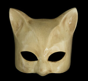 Masque de Venise Chat beige finition luxe Gatto Artisanat Peint à la main 2010