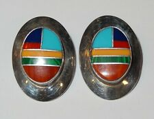 Turquoise, Malachite, Coral Inlay Stones Sterling Silver Navajo Oval Earrings