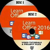 LEARN MICROSOFT OFFICE 2016 SIMPLE VIDEO TUTORIALS NEW 2 PC DVD WORD OUTLOOK Etc