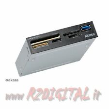 "CARD READER AKASA 3,5"" AK-ICR 27 USCITA USB 3.0 INTERNO IN VANO FLOPPY SDXC SDHC"