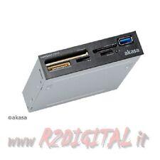 "CARD READER AKASA 3,5"" AK-ICR 27 USCITA USB 3.0 INTERNO IN VANO FLOPPY SDXC SDHC"