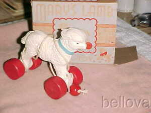 """Gem MINT IN BOX  -  HUBLEY PULL TOY  -  """" MARY'S LAMB """"  - 1940s  -  ADORABLE"""