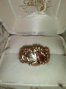 Black Hills Gold 10k 12k Wide Band  Leaves Ring Size 10