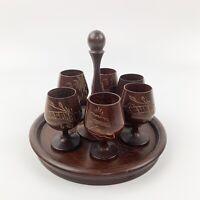 Vtg Carved Wood Serving Shot Glasses Tray Tiki Barware Mid Century Set Of 6