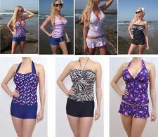 Lycra Halterneck Tankini Sets Plus Size Swimwear for Women