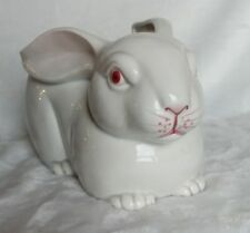 Vintage Fitz & Floyd Bunny Rabbit Planter Circa 1975 Hand Painted Crackle Glaze
