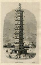 Antique Print-ARCHITECTURE-PORCELAIN TOWER-PAGODA-NANJING-CHINA-Breton-1843
