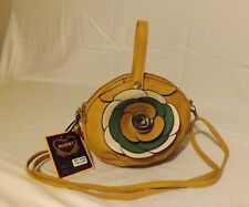 DIOPHY, Yellow Leather, Flower Embellished Cross Body Handbag BY-302#