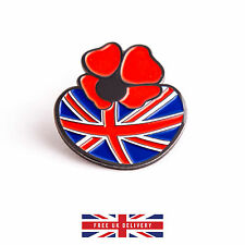 Poppy Pin Badge Remembrance Day Enamel Metal Brooch with British Flag