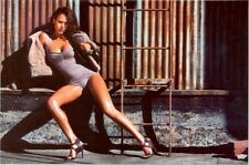 JESSICA ALBA - in a A ONE-PIECE !! SITTING ON BENCH !!!