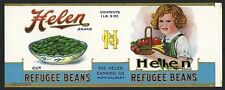 HELEN Brand, North Collins New York  *AN ORIGINAL 1920's TIN CAN LABEL* 972