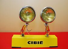 "5"" Round Amber Fog Lights & Brackets Vintage Yellow Pair Antique 12V Chrome"