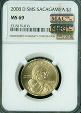 2008-D SACAGAWEA LABEL DOLLAR NGC MS69 SMS PQ MAC FINEST MAC SPOTLESS *