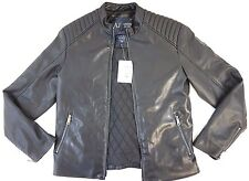 NWT Armani Jeans Men's Black Eco Leather Quilted Motorcycle Jacket Medium M 50