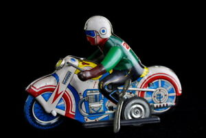 VINTAGE MOTORCYCLE MOTOR RIDER RACER WIND-UP TIN TOY